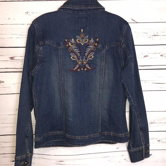 Gloria Vanderbilt Womens Ellie Button Front Denim Jacket